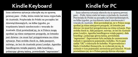 Podkreślenia na Kindle Keyboard i PC